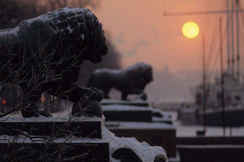 First snow in St. Petersburg